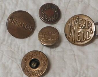 5 Work Clothes Overall Buttons Brass 1900-1935 Mens Work Buttons