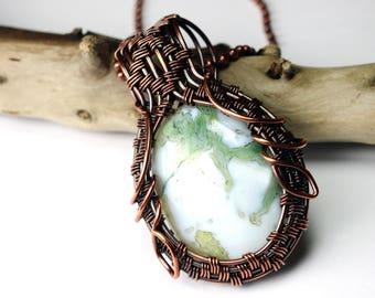 Copper Framed Green Opalite Pendant - Wire Wrapped Necklace - Made in Alaska - Alaska Art