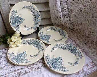 Set of 4 Antique french teal transferware dinner plates. Vintage Teal transferware. Castle. French chateau. Louis XV style. French country
