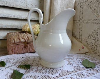 Antique french white footed washing pitcher. Directoire period. Paris porcelain. Jeanne d'Arc living. French nordic decor. Shabby white