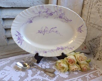 Antique french lavender transferware oval platter. Lavender transferware. Purple transferware. Jeanne d'Arc living. French Nordic decor