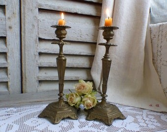 Antique French pair of bronze candlesticks. Romantic candlestick holder. French chateau. Paris apartment. French shabby cottage decor