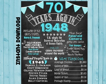 70th Birthday Chalkboard 1948 Poster 70 Years Ago in 1948 Born in 1948 70th Birthday Gift INSTANT DOWNLOAD