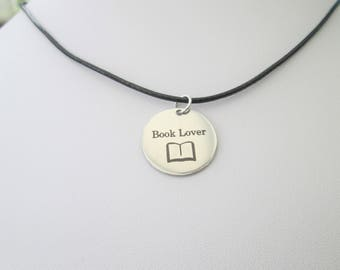 Book lover choker charm pendant necklace