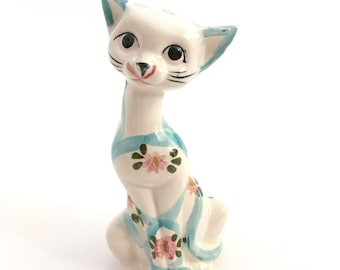 """Sweet Kitty Cat Figure Hand Painted Ceramic Stripes Blue Floral 7"""" Tall Whiskers"""