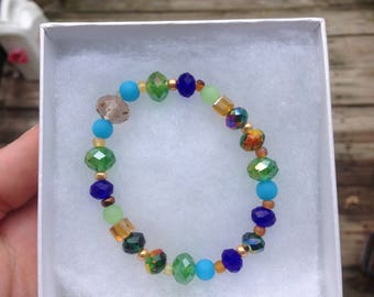 Shades of Blue, Green, and Amber Beaded Stretch Bracelet