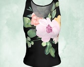 Réservoir haut, vêtements d'yoga, réservoir souple, longue durée disponibles, aquarelle fleurs, Capote rose, top rose shabby, usure de la séance d'entraînement, débardeur sexy, son cadeau