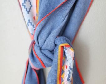 vintage blue & orange navajo print scarf