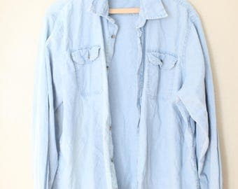 vintage wrangler chambray blue industrial button up shirt
