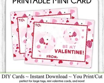 Elephant Valentine's Day Printable Cards, Valentine Mini Cards, DIY, You Print, Baby Elephant Valentine Printable Cards, Instant Download