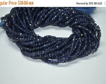 """40%OFF 13"""" Strand 4-5mm Untreated Natural Deep Blue Iolite Faceted Rondelle Beads Strand"""