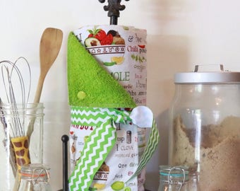Unpaper Towels --- Salsa and Guacamole Recipe--- Cotton & Terry Reusable Paperless Kitchen Towels with matching Wetbag