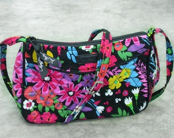 Floral Handbag, Vera Bradley, Little Cross Body Bag, Shoulder Bag, Adjustable Strap. Quilted, Floral Bag, Black With Floral.