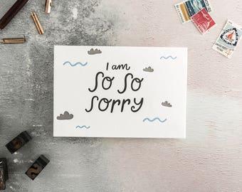 I Am So So Sorry Letterpress Card