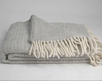 Pure Wool blanket with fringes Light Gray/White LambsWool blanket throw Pure wool throws Wool throw 55''X81''/140X205cm Perfect gift
