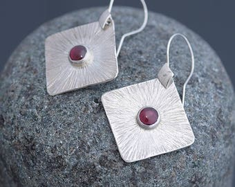 Garnet Jewelry, Garnet Earrings, Square Silver Earrings & Garnet, Garnet and Silver, Everyday Garnet Jewellery, January Birthstone Earrings