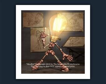 IdeaBot Limited Edition Print, idea, Robot, from the street art children's book - The AlphaBots, steampunk, drawings, lightbulb, light