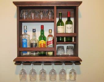 "Mini Bar  25"" x  24 "" Red mahogany stain Liquor cabinet Wine rack"