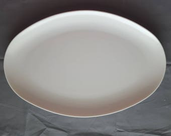 "Vintage Melmac Melamine White Oval Plate Platter by Stetson Melamine Illinois 12"" by 8"""