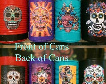 ON SALE 4 Day of the Dead Día de los Muerto Decorations Cans Vase Centerpiece Wedding Party Home Decor Sugar Skull Halloween Gothic Goth Mex