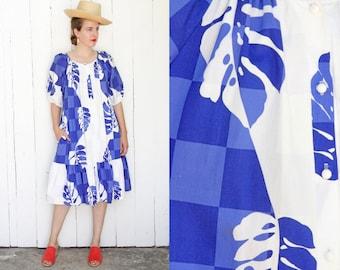 Vintage 80s Dress | 80s Hilo Hattie Hawaiian Print Cotton Dress Button Down Blue White | Large L