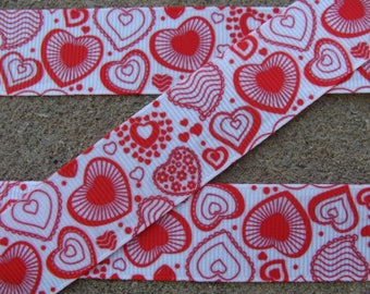 "3 yards Hearts Grosgrain Ribbon 7/8"" ribbon Valentines Day Ribbon red and white ribbon hair bow ribbon craft supplies"