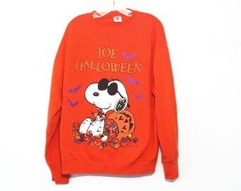 Vintage Halloween sweatshirt snoopy joe cool peanuts 90s novelty costume