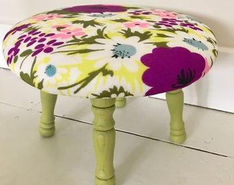 Funky daisies reupholstered footstool