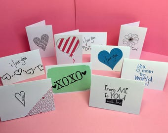 Love notes, Mini Cards, Love Cards, Set of 10, Lunch Box Notes, Mini Love Notes, Mini Lunch Notes, Love You Notes, Hand stamp cards, Hearts