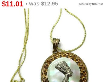 ON SALE! Egyptian Queen MOP Pendant Necklace, Vintage Nefertiti Gold Tone Necklace, Mother of Pearl Pendant