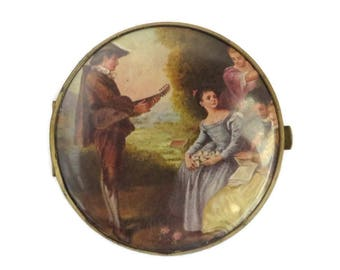 Vintage Compact, West Germany Double Mirror Compact, French Courting Scene Flapjack Compact