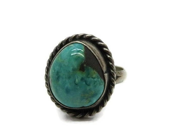 ON SALE! Old Pawn Navajo Ring, Vintage Handmade Ring, Native American Sterling Silver Ring, High Grade Turquoise Ring, Size 5.5