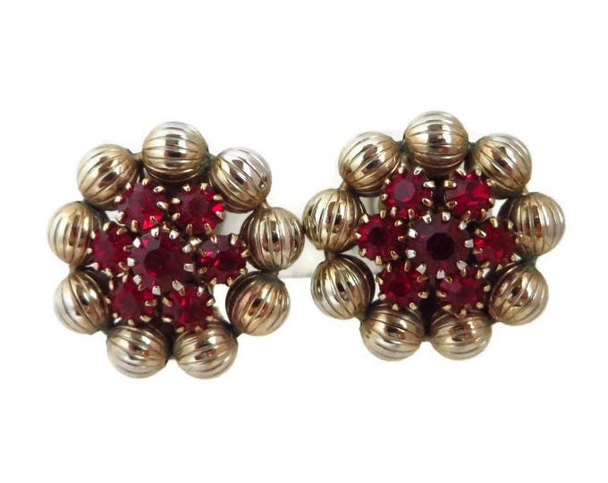 Weiss Red Rhinestone Earrings, Vintage Ruby Rhinestone Gold Tone Flower Signed Weiss Clip-on Earrings