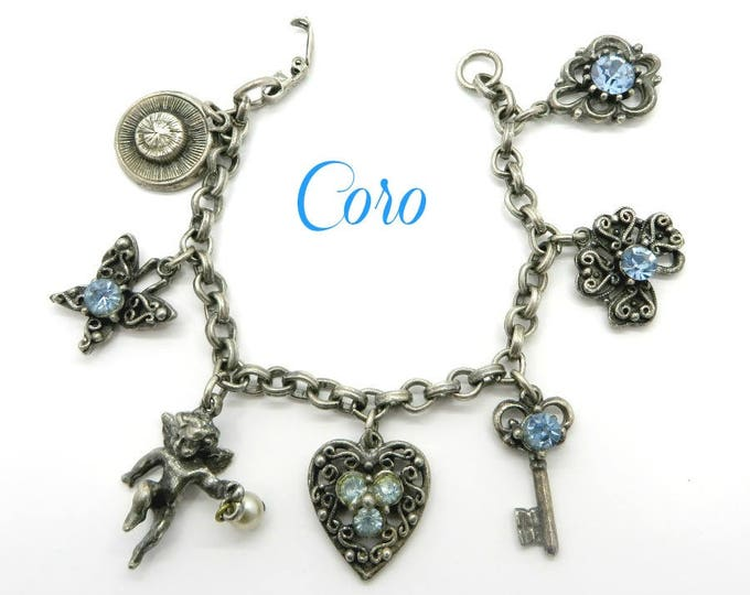 Coro Charm Bracelet, Vintage Silver Tone Rhinestone Cupid Heart Key Flowers Blue Rhinestone Charm Bracelet, Gift for Her, FREE SHIPPING