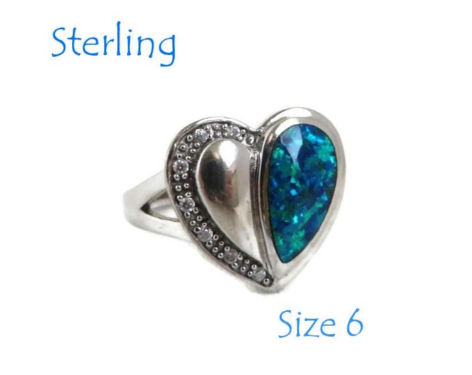 Sterling Heart Ring - Vintage Foil Glass Ring, Two Tone Heart CZ Accents Ring,  Size 6, Gift for Her, FREE SHIPPING
