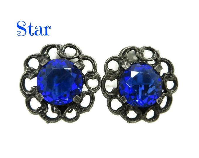 Blue Rhinestone Earrings, Signed Designer Flower Clip-ons, Vintage Star Jewelry, Valentine's Day Gift