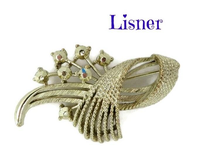 Lisner Brooch, Gold Tone Rhinestone Brooch, Vintage Flowering Leaf Pin, Gift for Her