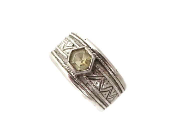 Sterling 925 Etched Ring | Citrine Glass Wide Band Ring | Size 5.5