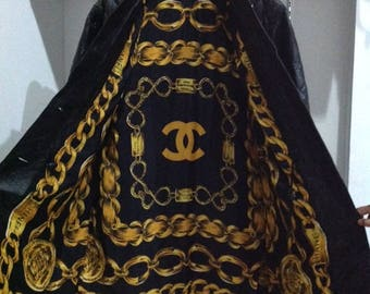 Vintage CHANEL baroque chain quilted leather coat jacket size L