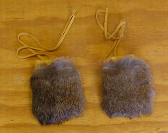 2 Natural Rabbit Fur & Gold Color Deer Leather Bags