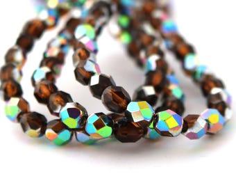 Smoky Topaz Vitrail 6mm Facet Round Czech Glass Fire Polished Beads #1565