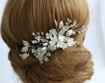 Bridal hair comb Silver Bridal Hair comb Wedding hair comb Flower bridal comb Bridal hair accessories Silver Wedding accessories Silver