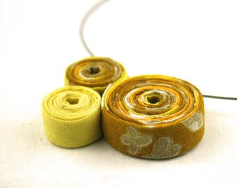 Upcycled jewelry. Recycled fabric. Yellow necklace BARCELONA