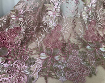 Pink guipure lace fabric, gold thread embroidered lace, pink gold bridal lace fabric by the yard