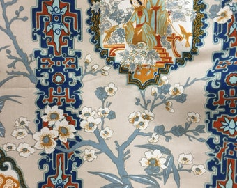 Porcelain Lady Chinoiserie Fabric Vintage Remnant Screen Print Asian Lady Fabric Chinese Medallion