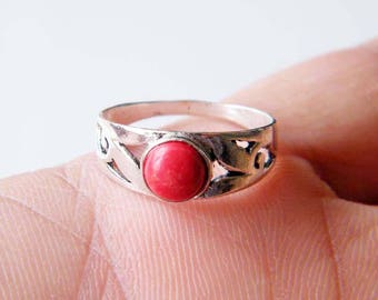 Red Coral Ring, Brass Ring, Silver Plated Ring, Silver Brass Ring, Gift For Her, Women Jewelry, Statement Ring, Ring size-7 SH-4954
