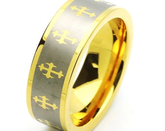 8MM Comfort Fit Tungsten Carbide Wedding Band Gold Tone Celtic Cross Ring(JDTR142)