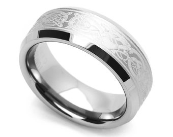 8MM Comfort Fit Tungsten Carbide Wedding Band Celtic Dragon Engraved Ring(CT417RTN)