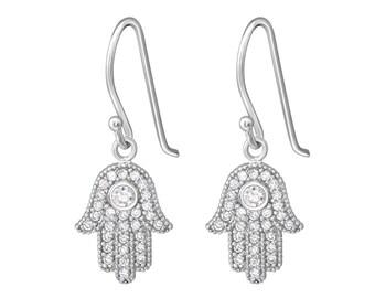 CZ Hamsa Hand Dangle Earrings Rhodium Plated 925 Sterling Silver - ER5069