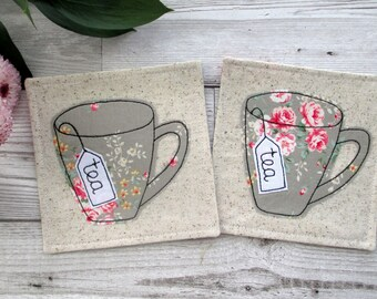 Fiver Friday, Tea Coasters, Fabric Coasters, Floral Table Decor, Housewarming Gift, Gift For Her, Drink Coasters, Kitchen Coasters